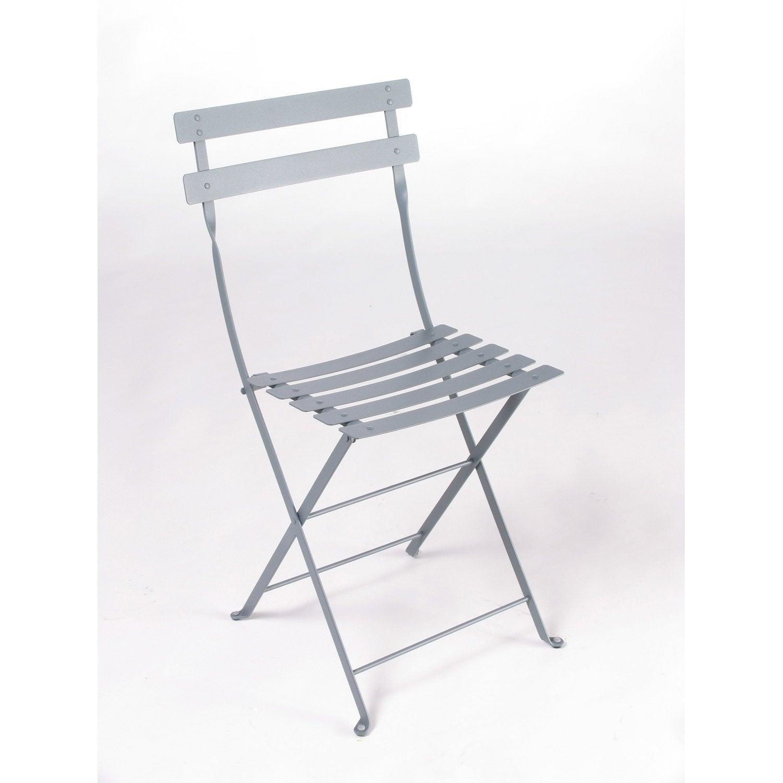 chaise de jardin en acier bistro gris orage leroy merlin