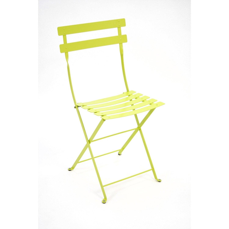 Chaise de jardin en acier bistro verveine leroy merlin for Chaise balancoire jardin