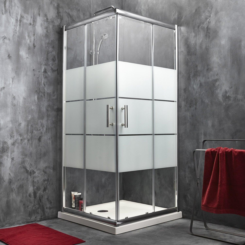Porte de douche coulissante sensea optima 2 verre - Porte coulissante verre trempe leroy merlin ...