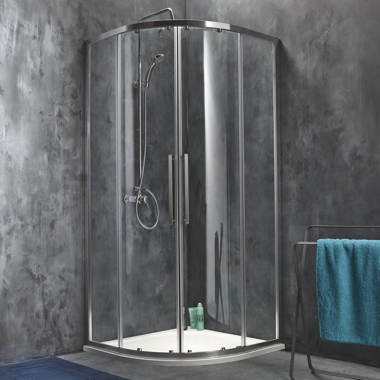 Porte de douche coulissante angle 1 4 de cercle x cm chrom purit - Porte de douche battant ...