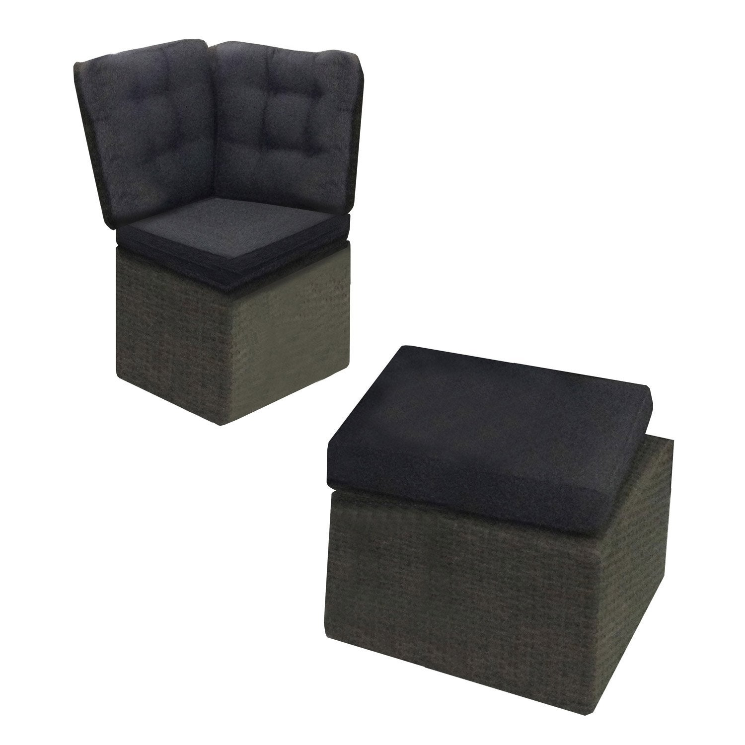 pouf et angle du canap pour salon de jardin daveport. Black Bedroom Furniture Sets. Home Design Ideas