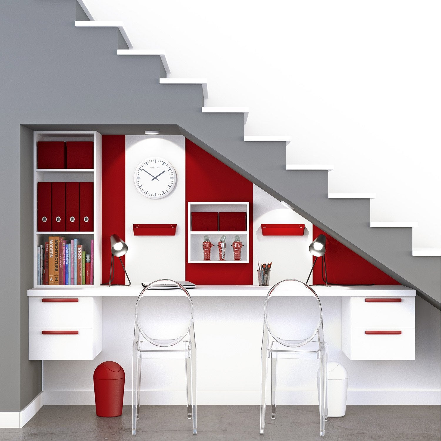 Bureau spaceo home blanc leroy merlin for Amenagement salon avec escalier