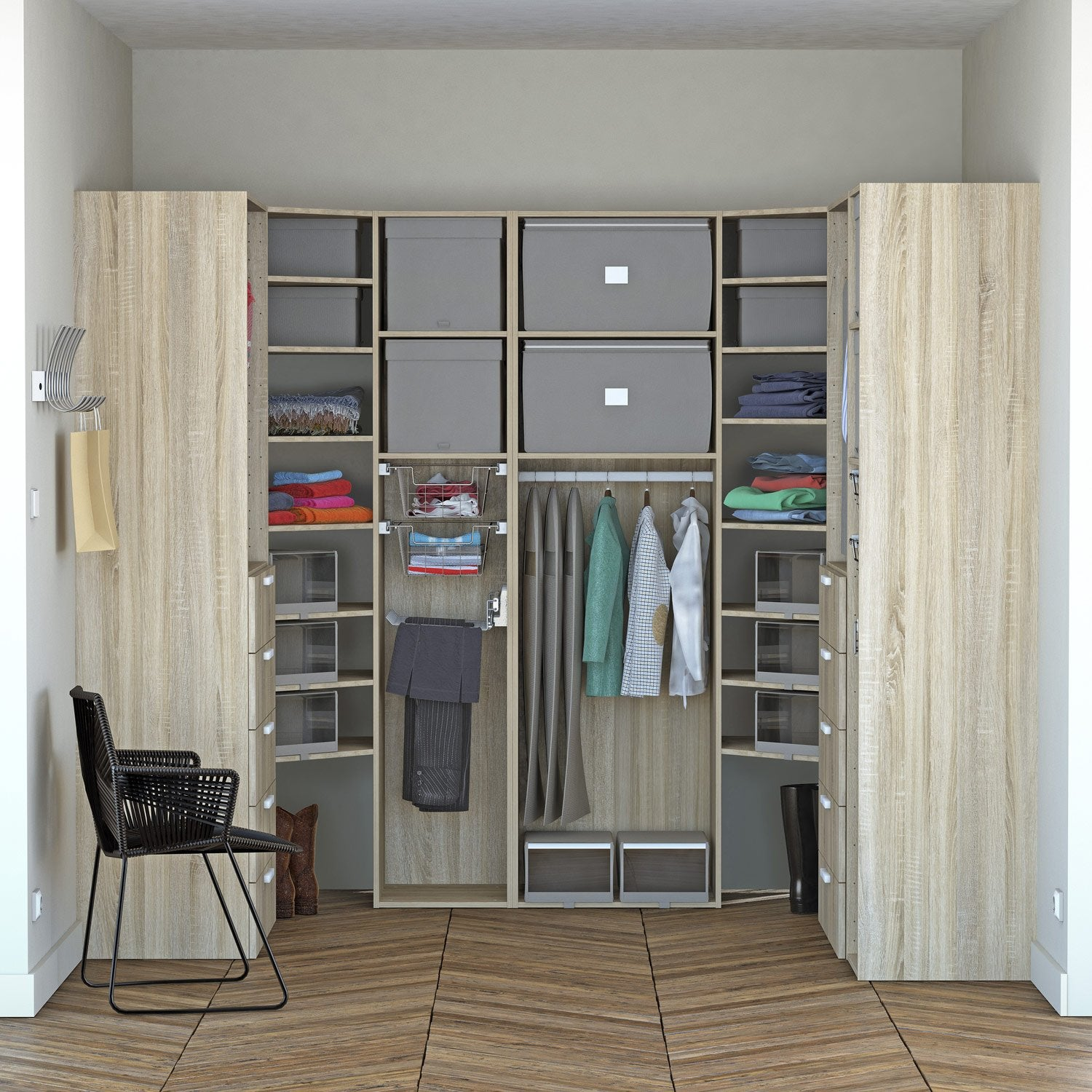 Dressing spaceo home effet ch ne leroy merlin for Dressing salle de bain leroy merlin