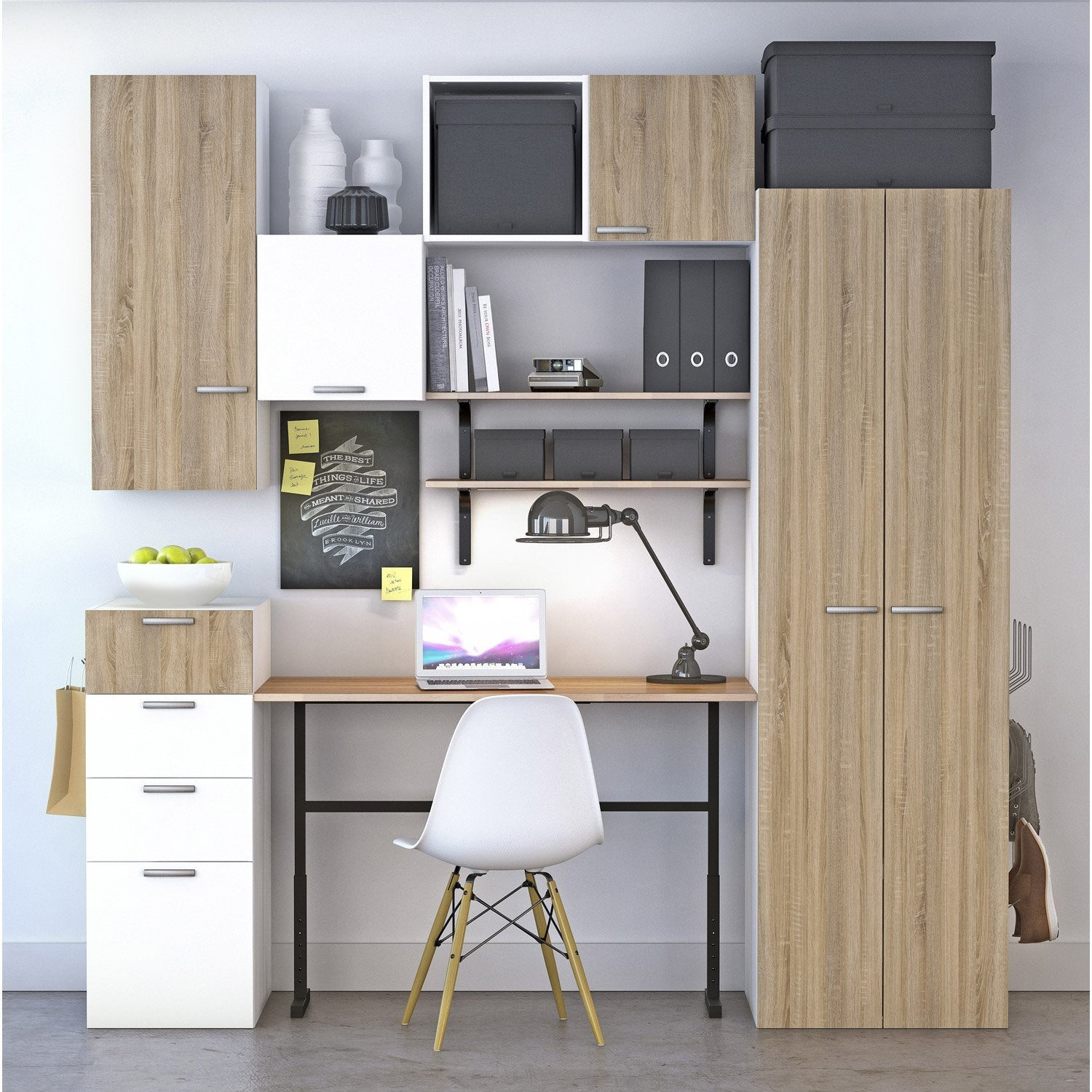 Bureau spaceo home effet ch ne leroy merlin for Meuble bureau leroy merlin
