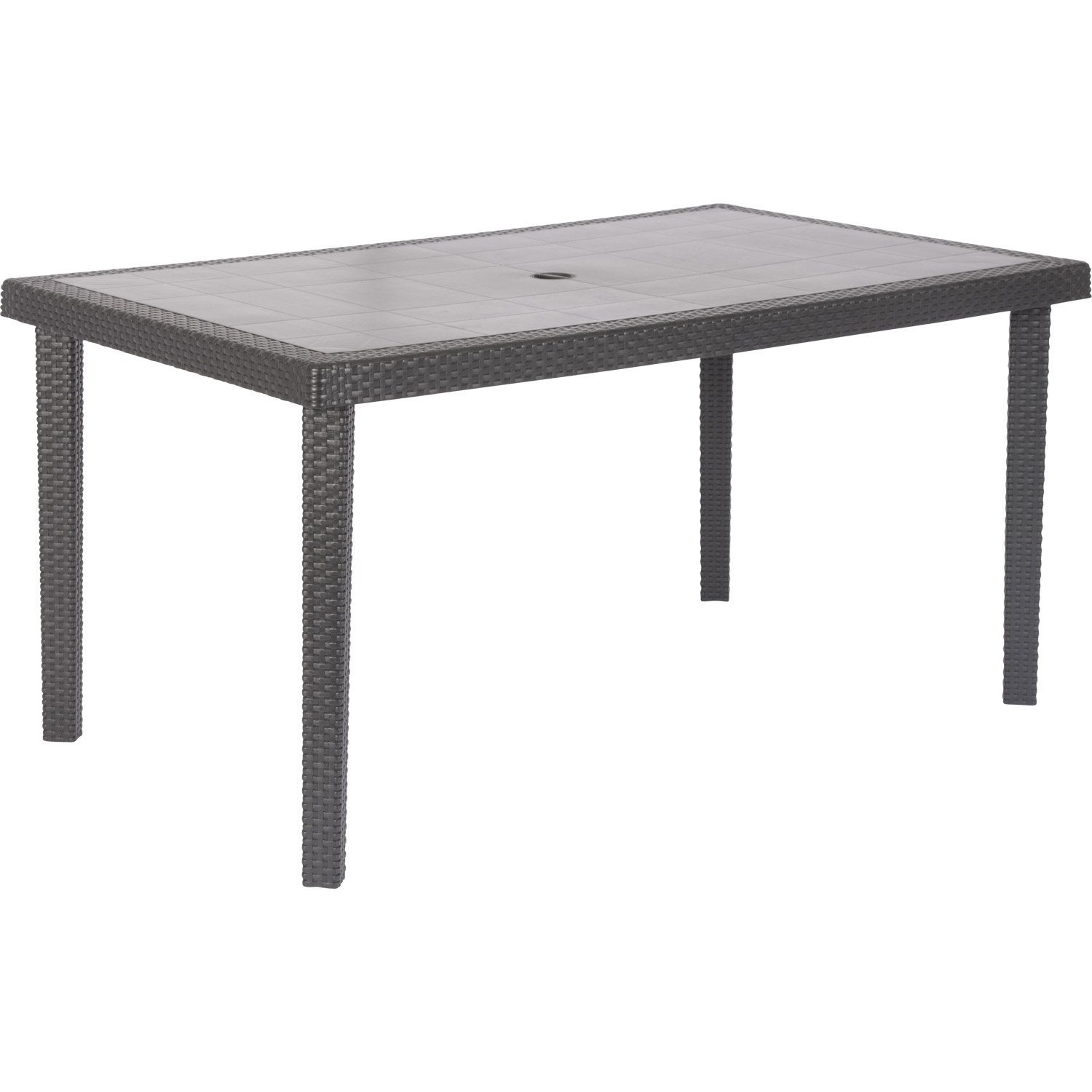 Table de jardin boh me rectangulaire anthracite 6 for Table extensible leroy merlin
