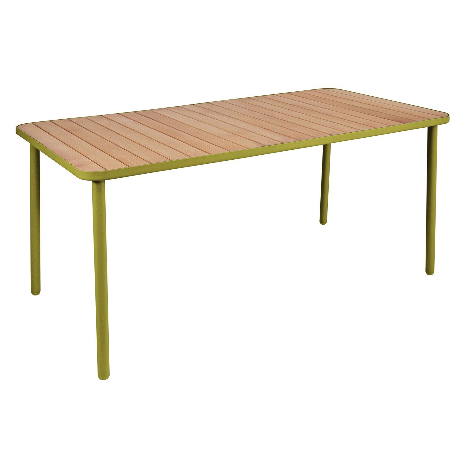 Table de jardin hata rectangulaire vert 8 personnes for Table de nuit leroy merlin