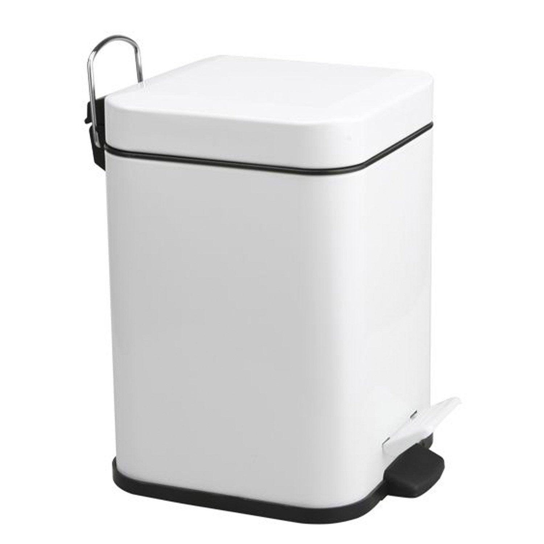 Poubelle de salle de bains 3L Quaddra blanc blanc n°0  Leroy Merlin