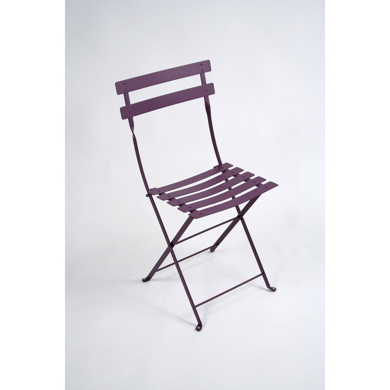 Chaise de jardin en acier bistro aubergine leroy merlin - Chaise de jardin pvc ...