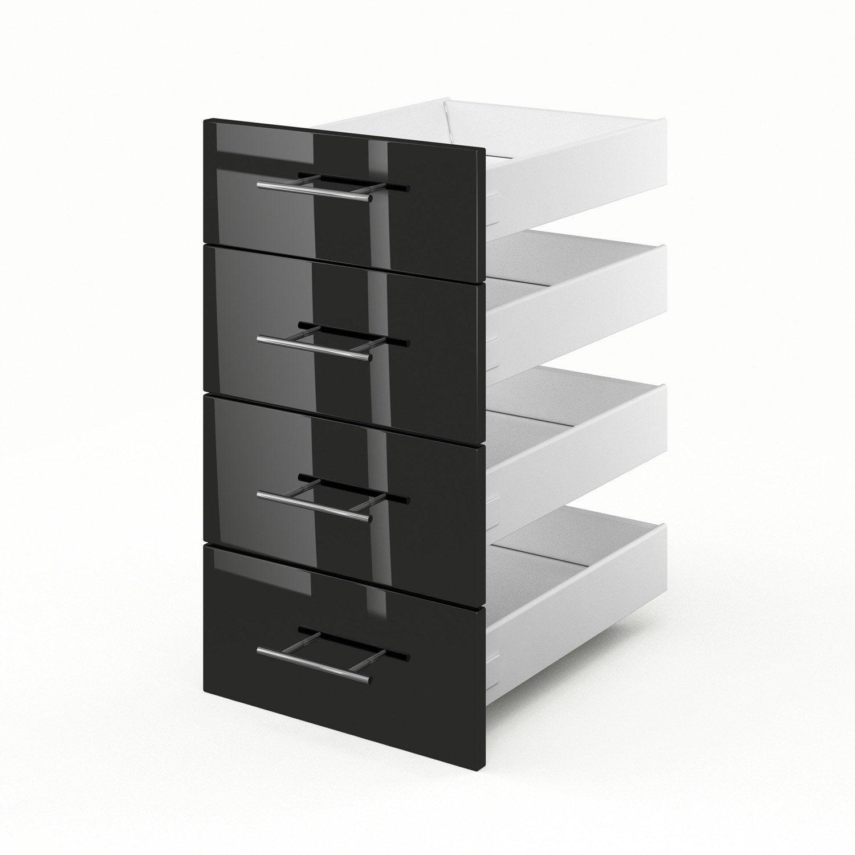 4 tiroirs de cuisine noir rio x x cm for Meuble cuisine 55 cm
