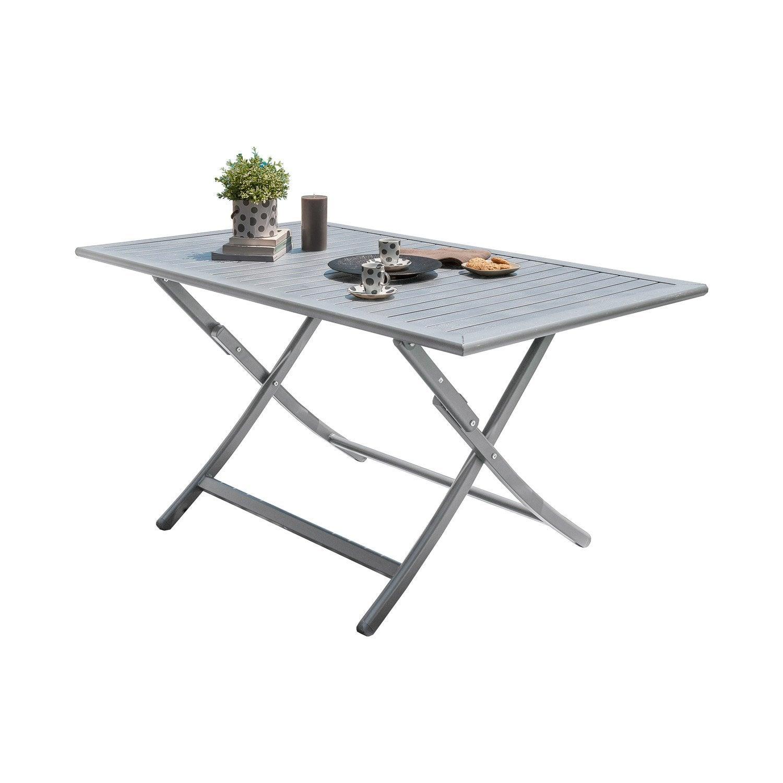 table de jardin orlando rectangulaire gris 4 personnes leroy merlin. Black Bedroom Furniture Sets. Home Design Ideas