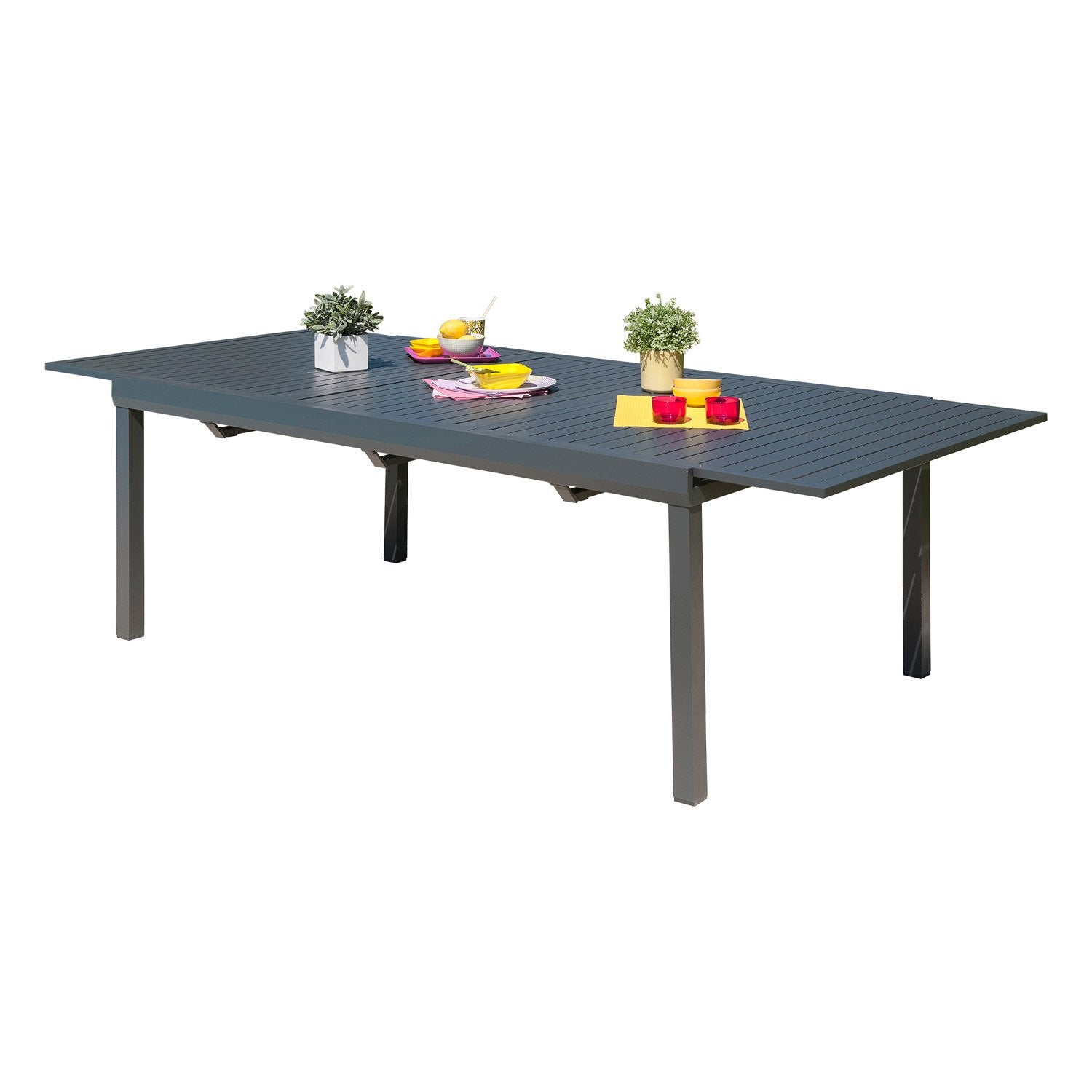 table de jardin miami rectangulaire gris anthracite 8 personnes leroy merlin. Black Bedroom Furniture Sets. Home Design Ideas
