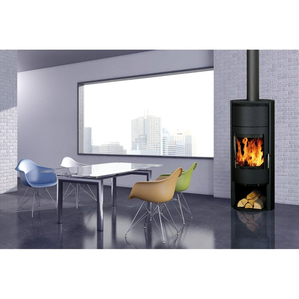 po le bois fonte flamme managa noir 6 kw leroy merlin. Black Bedroom Furniture Sets. Home Design Ideas