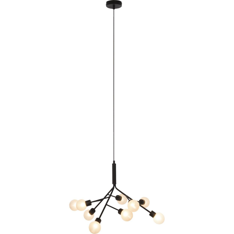 Suspension design shoot m tal noir 9 x 33 w brilliant leroy merlin - Abat jour suspension leroy merlin ...