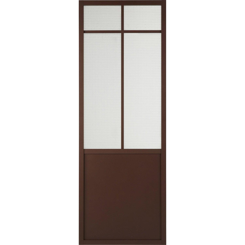 Porte coulissante laqu e noir work artens x cm for Porte vitree 73
