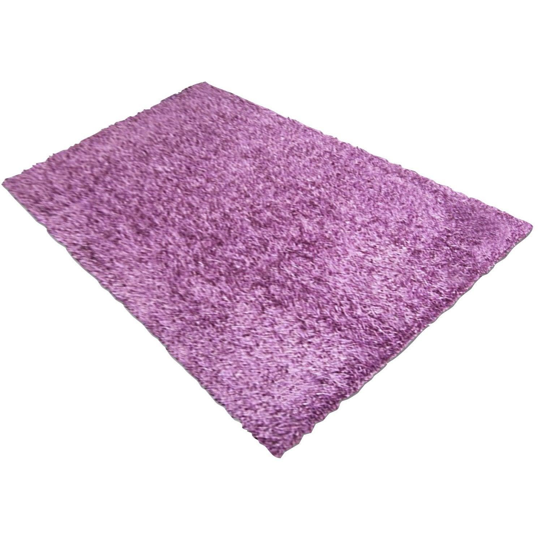 tapis shaggy lilou violet 170x120 cm leroy merlin