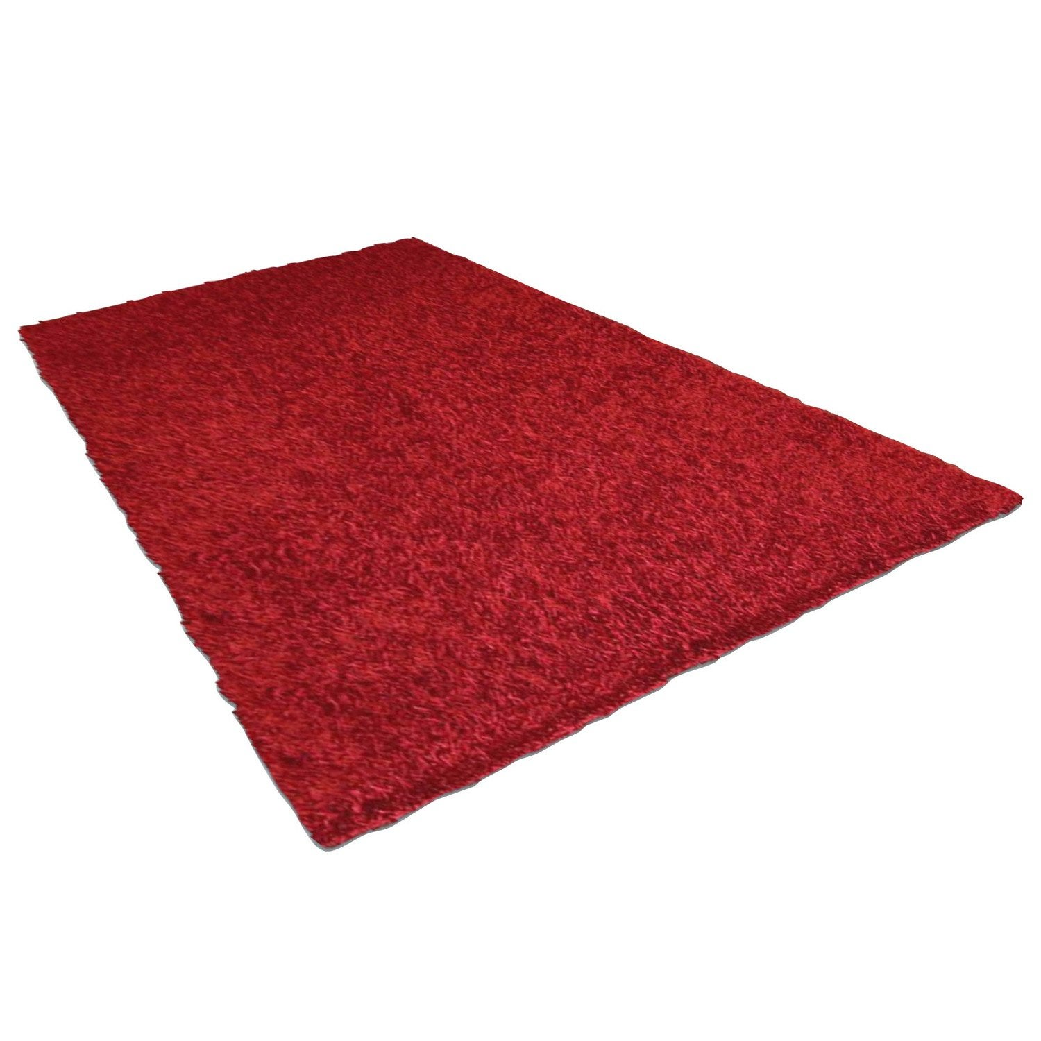 Tapis Shaggy Lilou Rouge 230x160 Cm Leroy Merlin