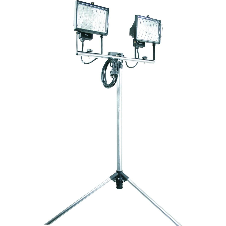 Projecteur tr pied poser halog ne 2 x 400 w r7s gris for Lumiere exterieur sur pied
