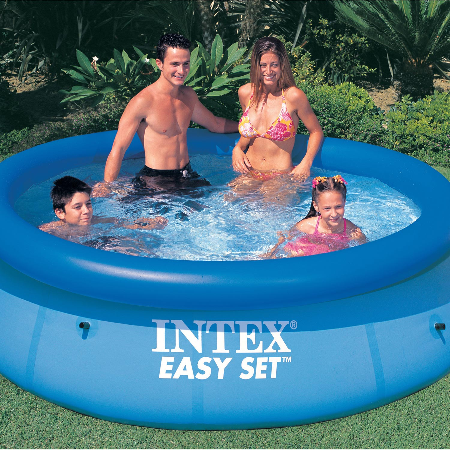 Piscine hors sol gonflable easy set clearview intex ronde for Sevylor piscine hors sol