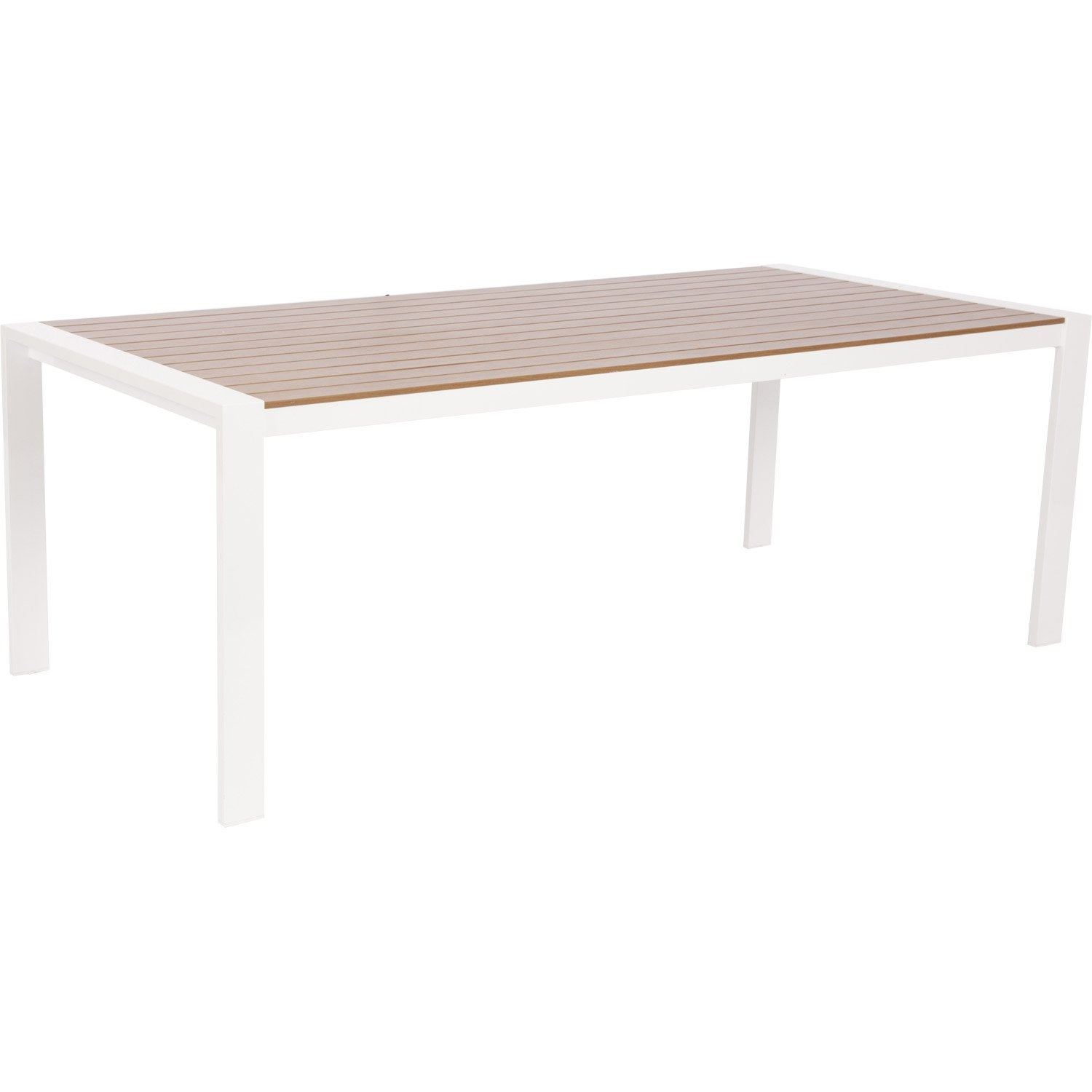 Table de jardin port nelson rectangulaire blanc imitation teck 8 personnes - Leroy merlin table jardin ...