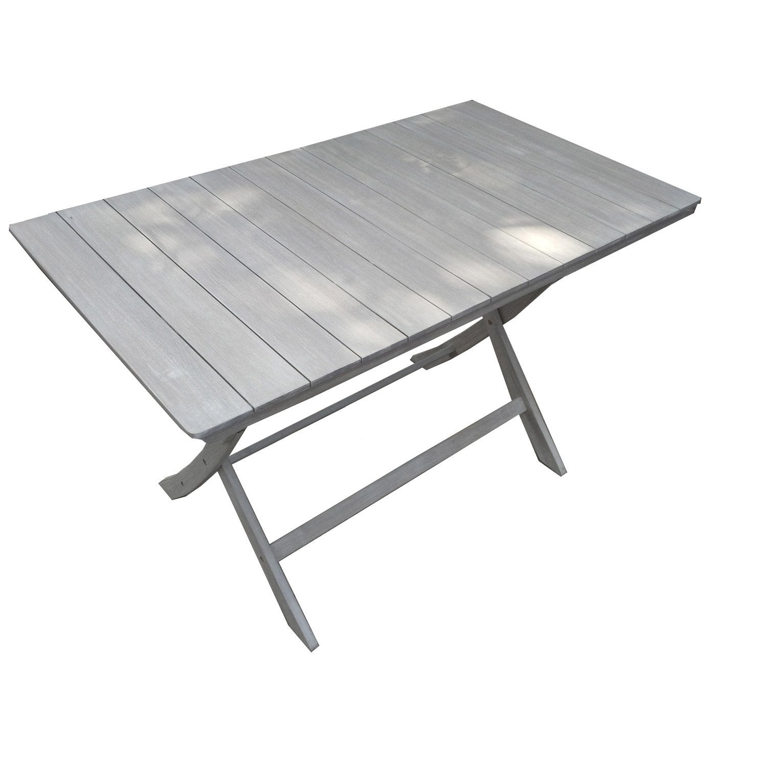 Table de jardin naterial portofino rectangulaire gris 4 for Table extensible leroy merlin