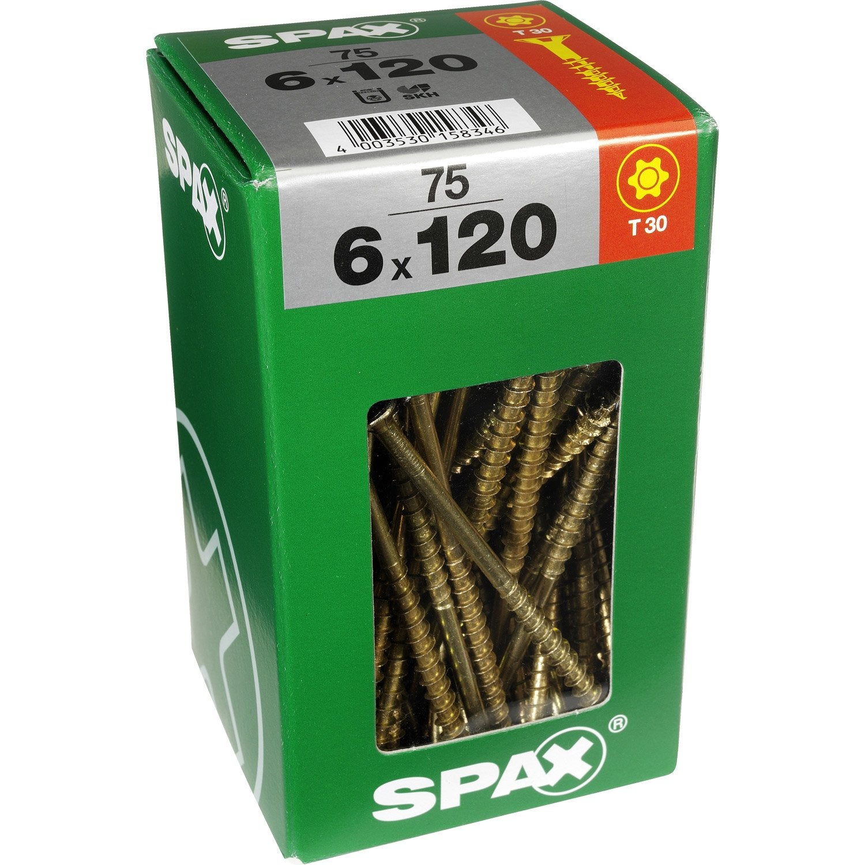 Lot de 75 vis acier t u00eate fraisée torx SPAX, Diam 6 mm x L 120 mm Leroy Merlin # Vis Bois Torx Leroy Merlin