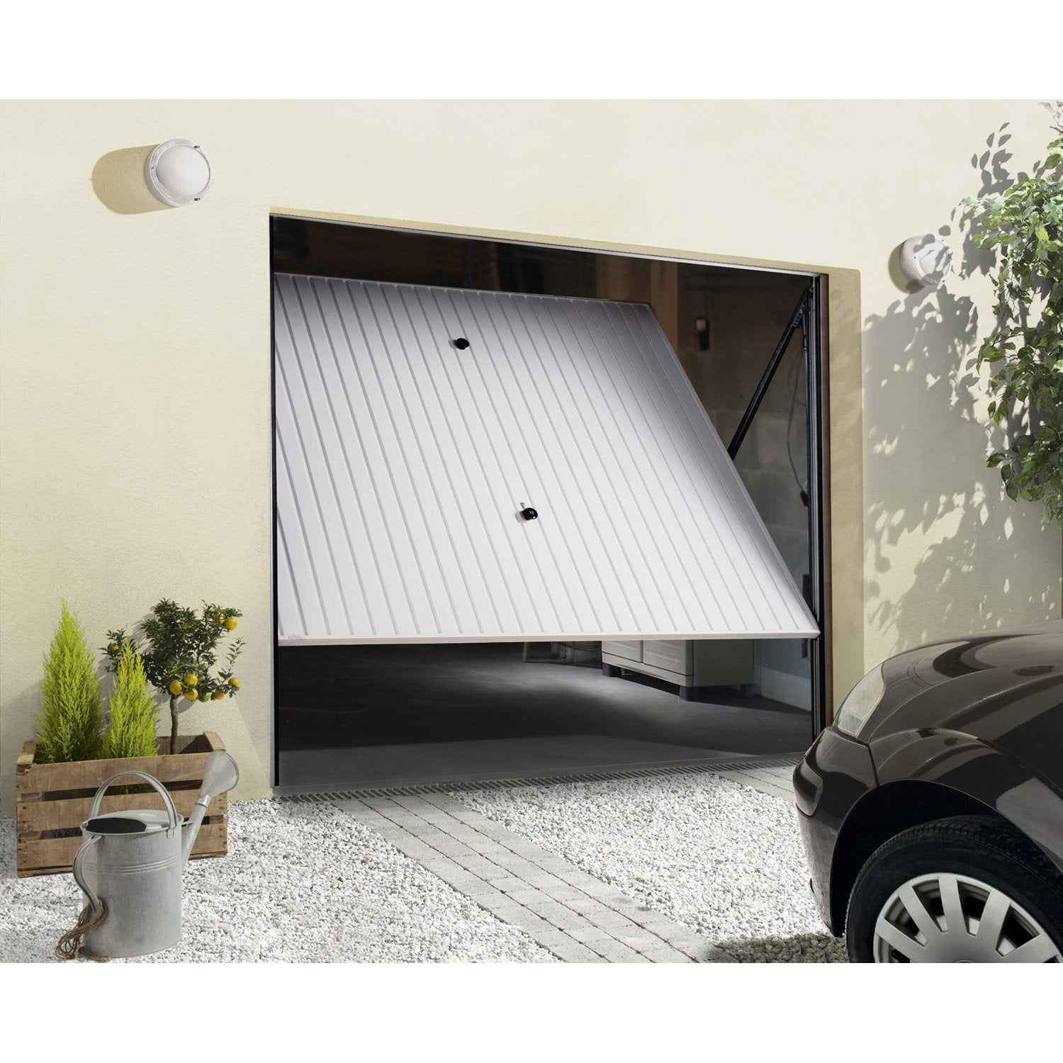 Porte de garage basculante manuelle x cm for Porte de garage sectionnelle 220 x 200