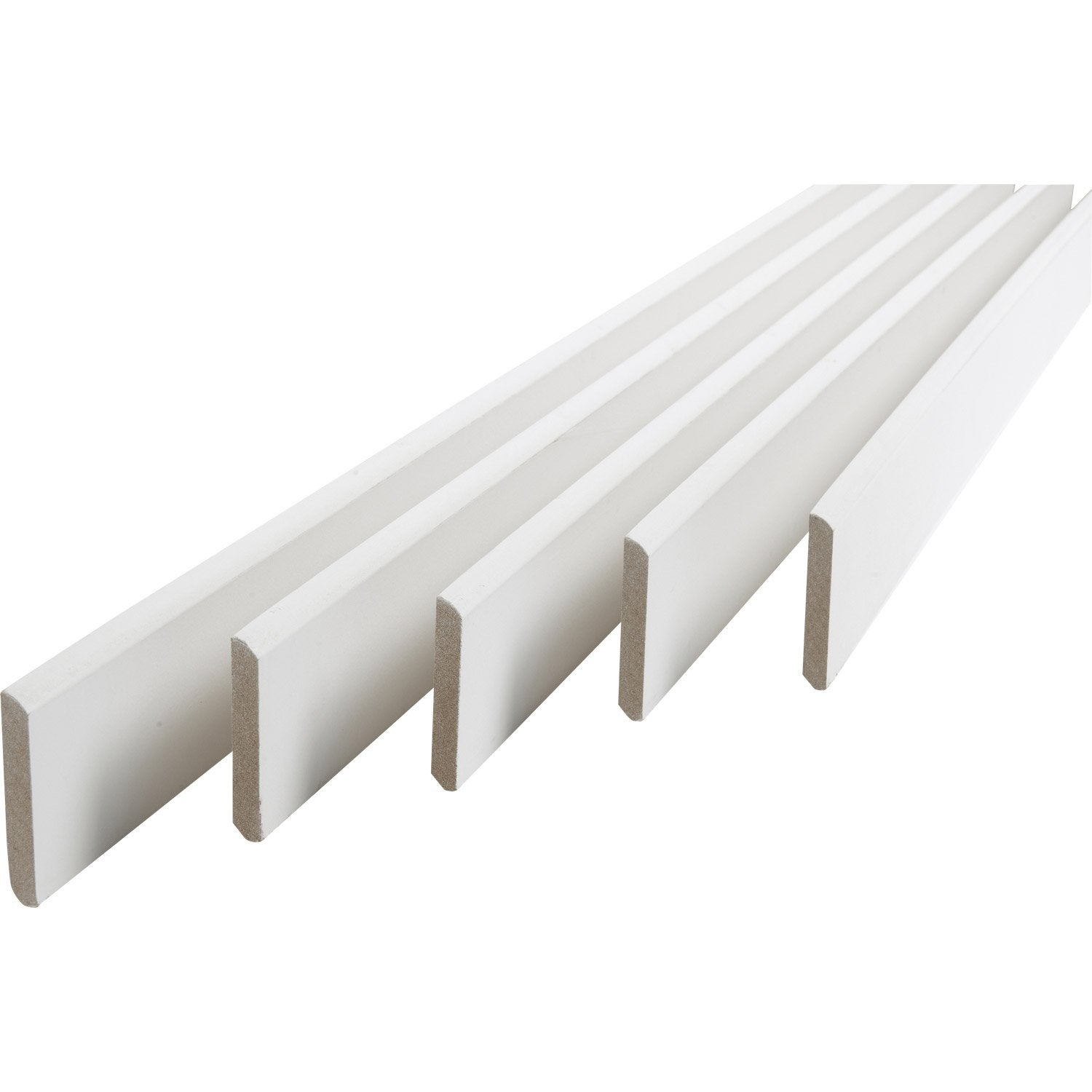 Lot de 5 plinthes m dium mdf arrondies peint blanc 9 x for Planche pvc exterieur