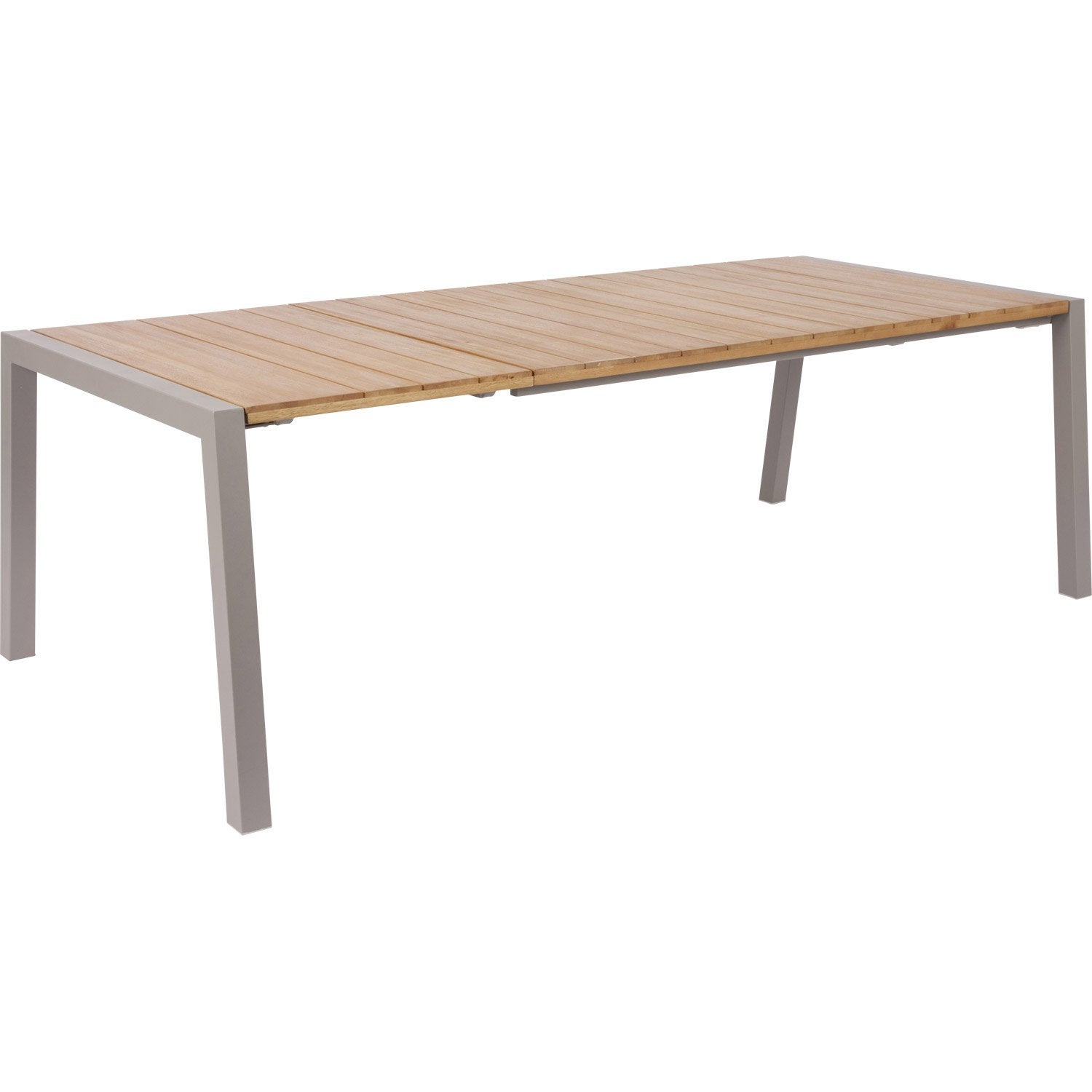 Table de jardin nautique rectangulaire taupe 6 8 personnes for Leroy merlin table jardin