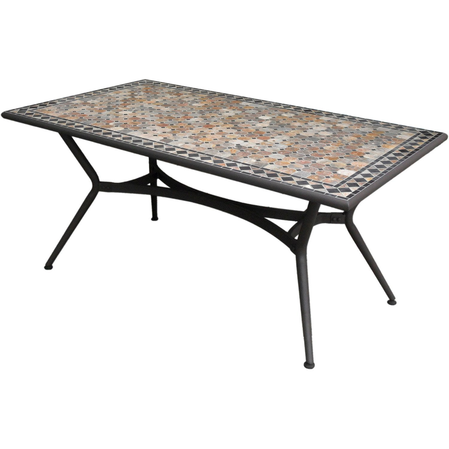 Table de jardin marocco rectangulaire bronze 6 personnes for Table de nuit leroy merlin