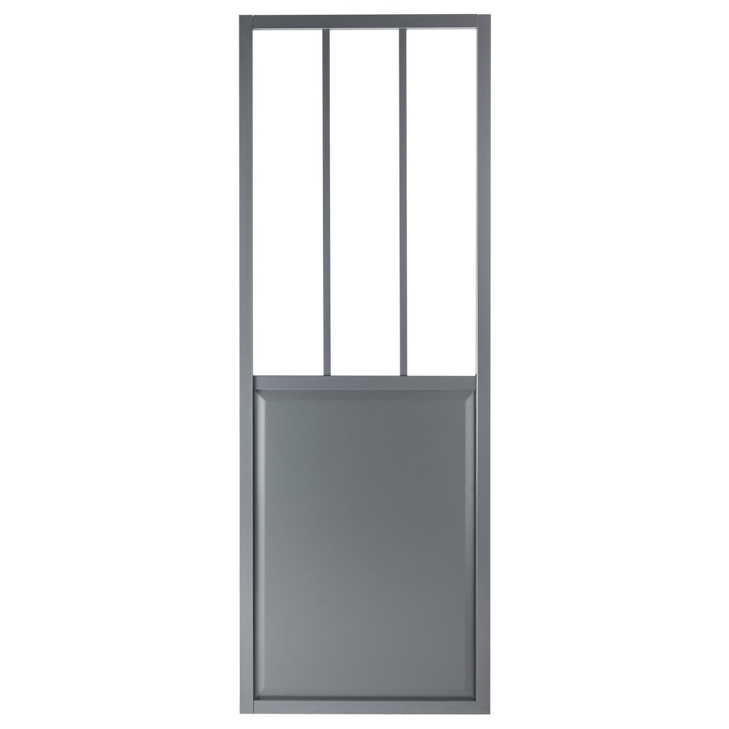 Porte coulissante aluminium gris fonc verre tremp for Fenetre verre securit