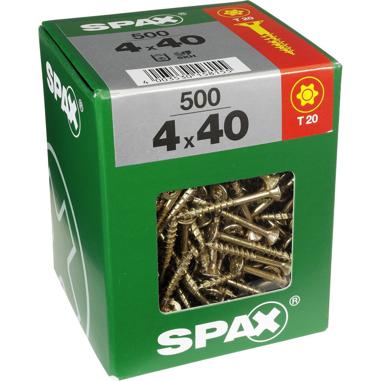 Lot de 500 vis acier t u00eate fraisée torx SPAX, Diam 4 mm x L 40 mm Leroy Merlin # Vis Bois Torx Leroy Merlin