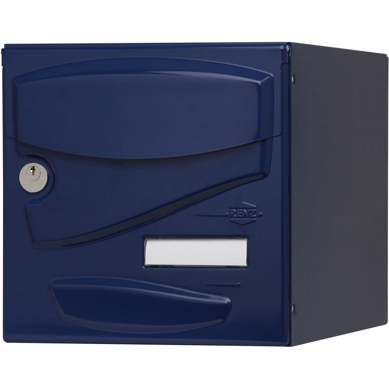 Boite Aux Lettres En Bois Leroy Merlin : aux lettres RENZ Tendance normalis?e bleu en acier Leroy Merlin