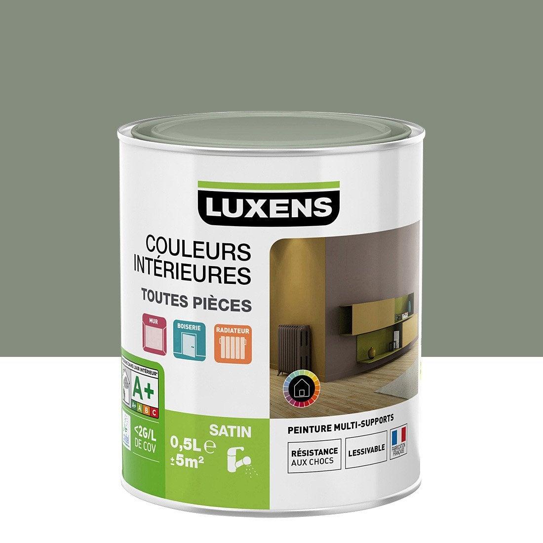 Peinture gris smoke 4 luxens couleurs int rieures satin 0 5 l leroy merlin - Vert de gris peinture ...