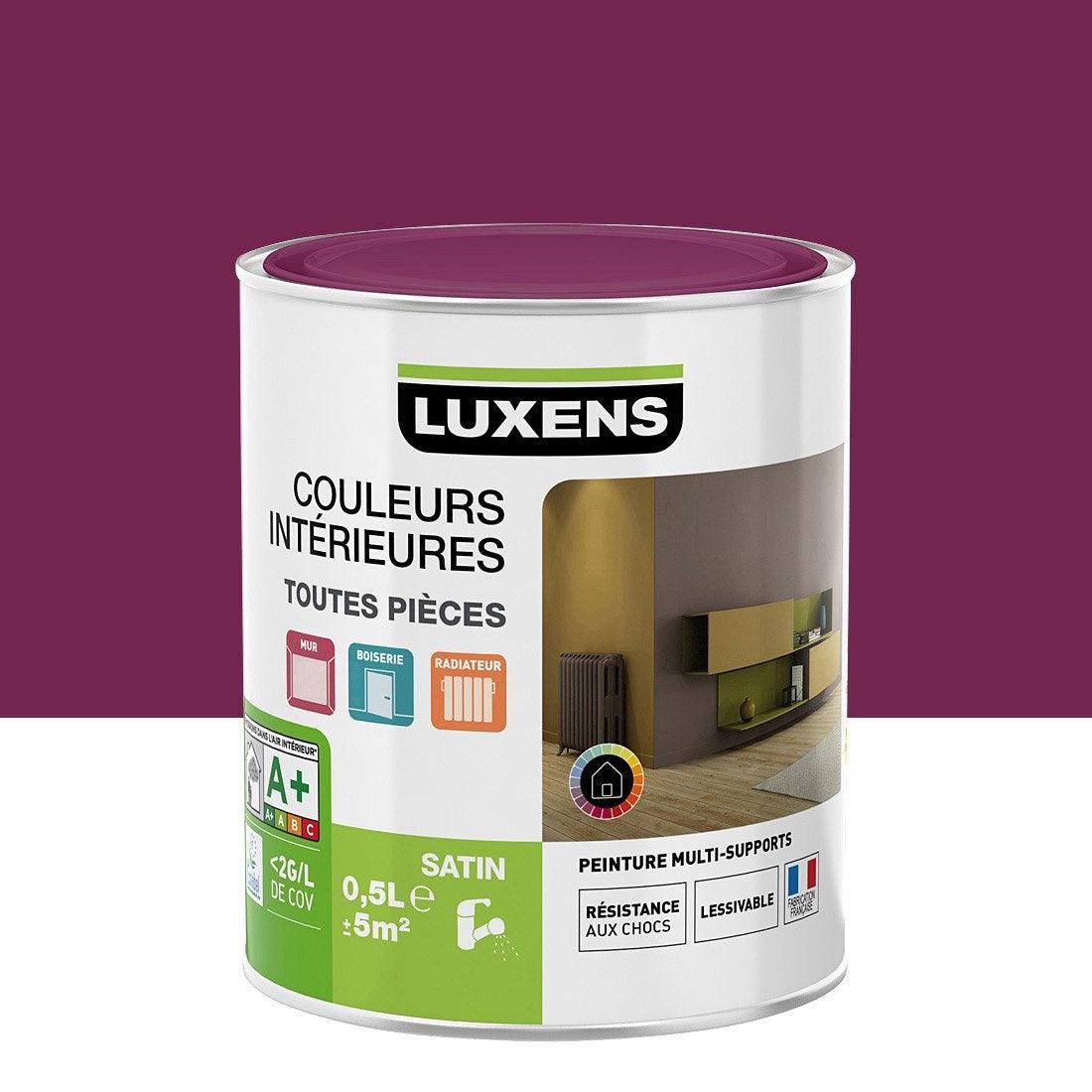 Peinture violet figue 3 luxens couleurs int rieures satin 0 5 l leroy merlin for Peinture couleur figue