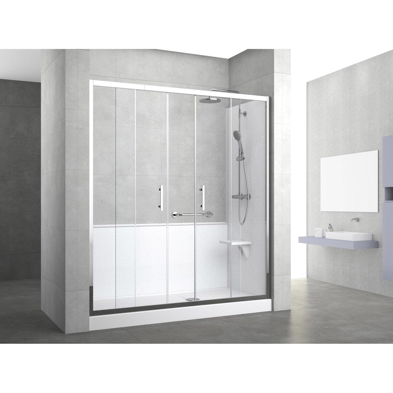 Kit de remplacement baignoire par douche entre 3 murs 160 - Baignoire a porte leroy merlin ...