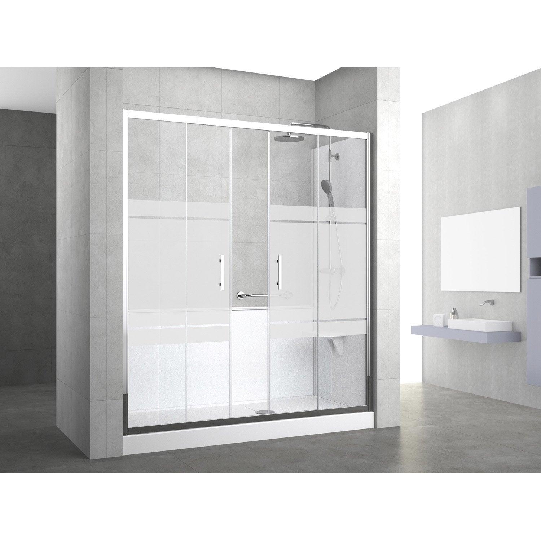 Kit de remplacement baignoire par douche entre 3 murs 170 x 70 cm elyt evolut - Vitre douche leroy merlin ...