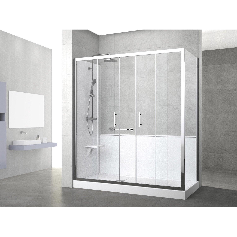 Kit de remplacement baignoire par douche entre 2 murs 170 x 80 cm elyt evolut - Etancheite douche leroy merlin ...