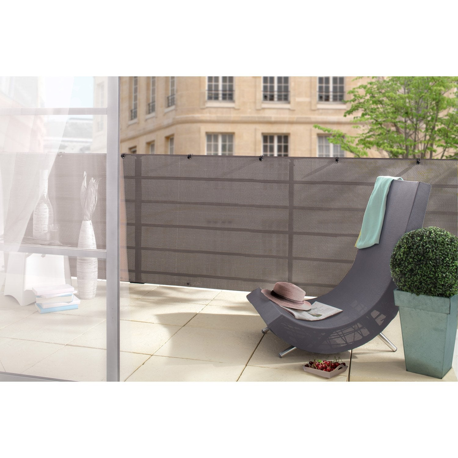 Brise vue sans attache nortene manhattan x cm for Vue terrasse