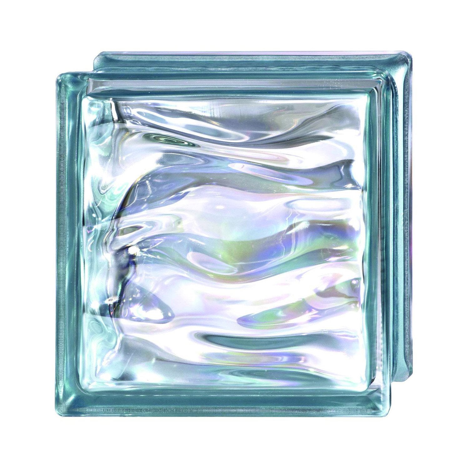 Brique de verre bleu vague brillant leroy merlin for Pave verre salle de bain