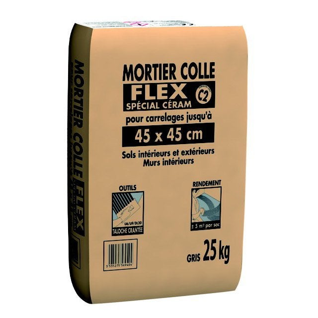 Mortier colle flex sp cial c ram pour carrelage jusqu 39 45 for Carrelage sans colle leroy merlin