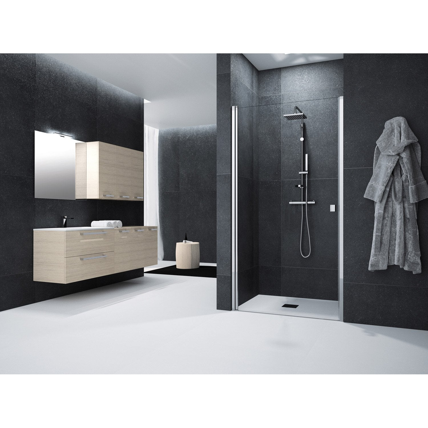 porte de douche pivotante 100 cm transparent neo leroy. Black Bedroom Furniture Sets. Home Design Ideas