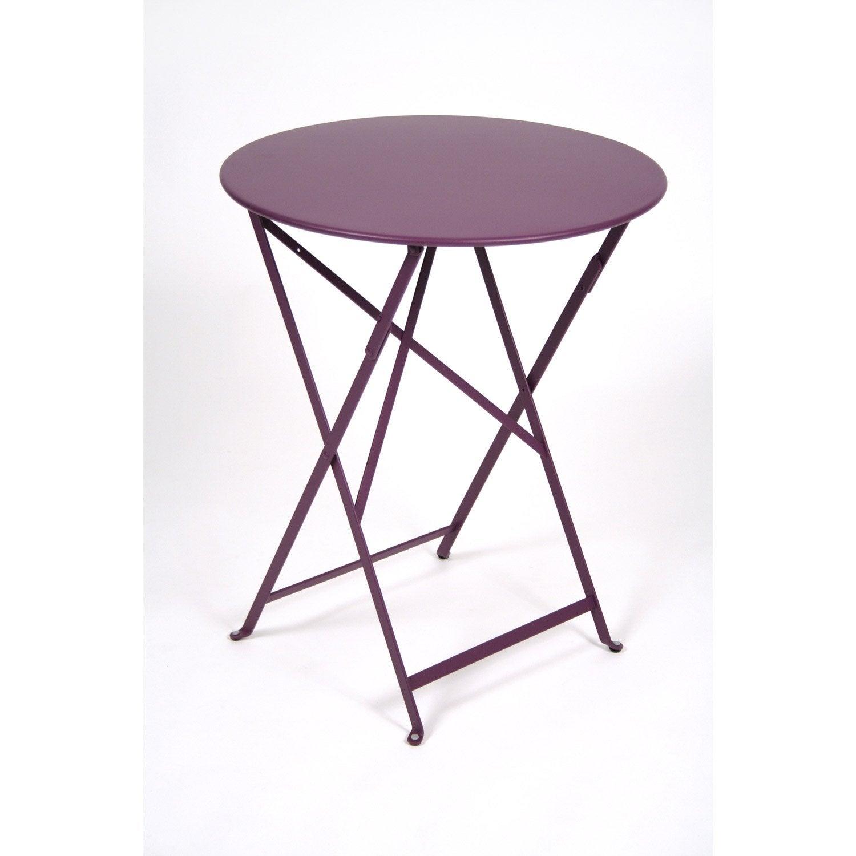 Table de jardin fermob bistro ronde aubergine 2 personnes - Table pliante de jardin leroy merlin ...