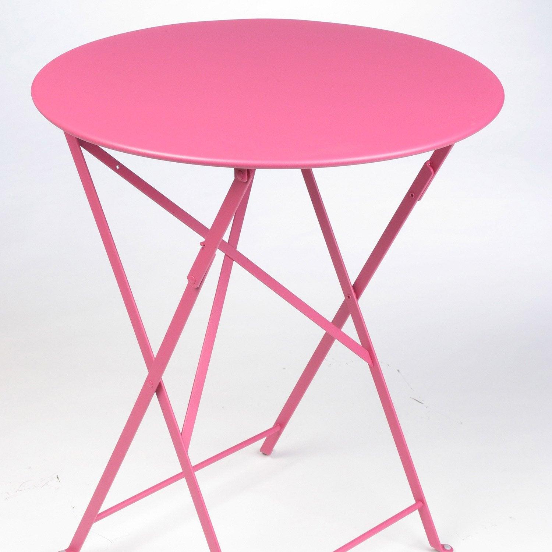 Table de jardin fermob bistro ronde fuschia 2 personnes for Table de jardin fermob