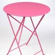 Table de jardin FERMOB Bistro ronde fuschia 2 personnes