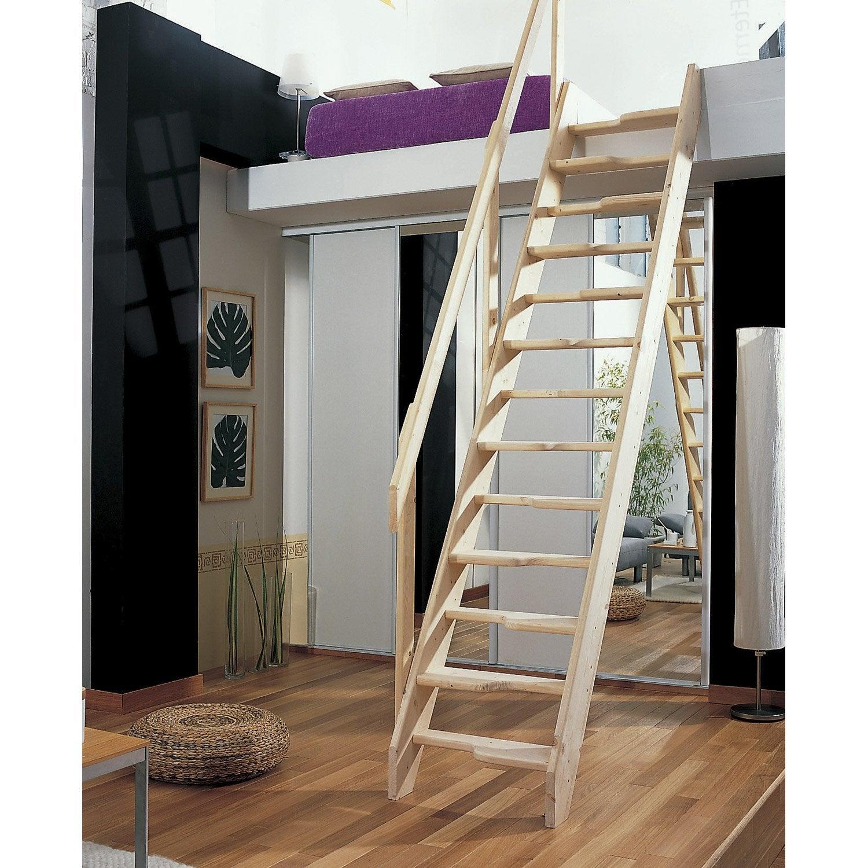 Escalier de meunier sapin pas d cal s 13 marches h sol for Escalier a pas decales leroy merlin
