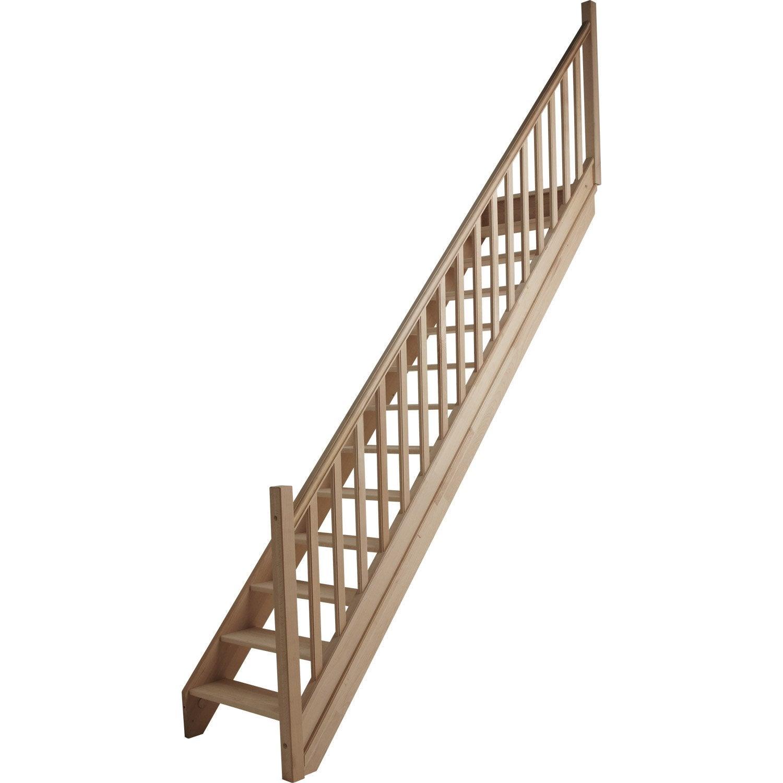 Escalier droit nature sans contremarche marches structure - Escalier droit leroy merlin ...