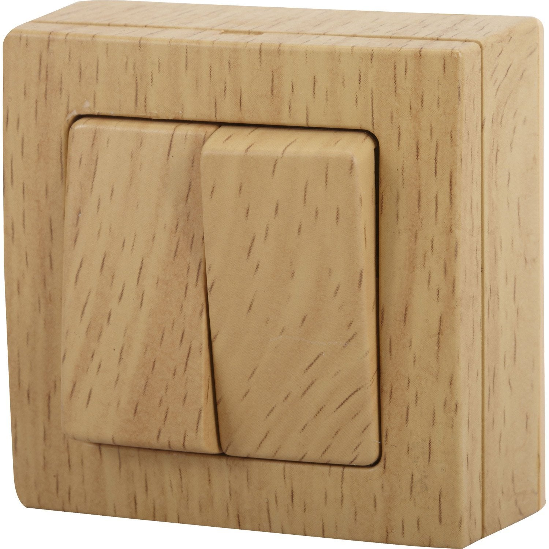 double interrupteur va et vient saillie bel 39 vue bois leroy merlin. Black Bedroom Furniture Sets. Home Design Ideas