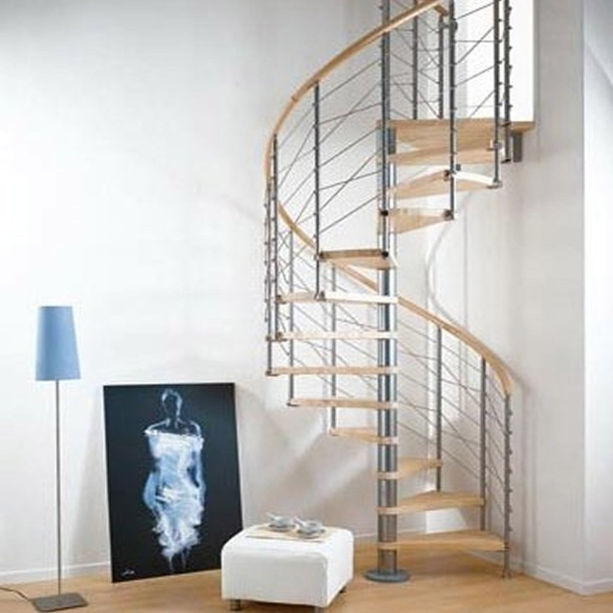 Escalier colima on rond ring line marches bois structure m tal chrom ler - Escalier colimacon plan ...