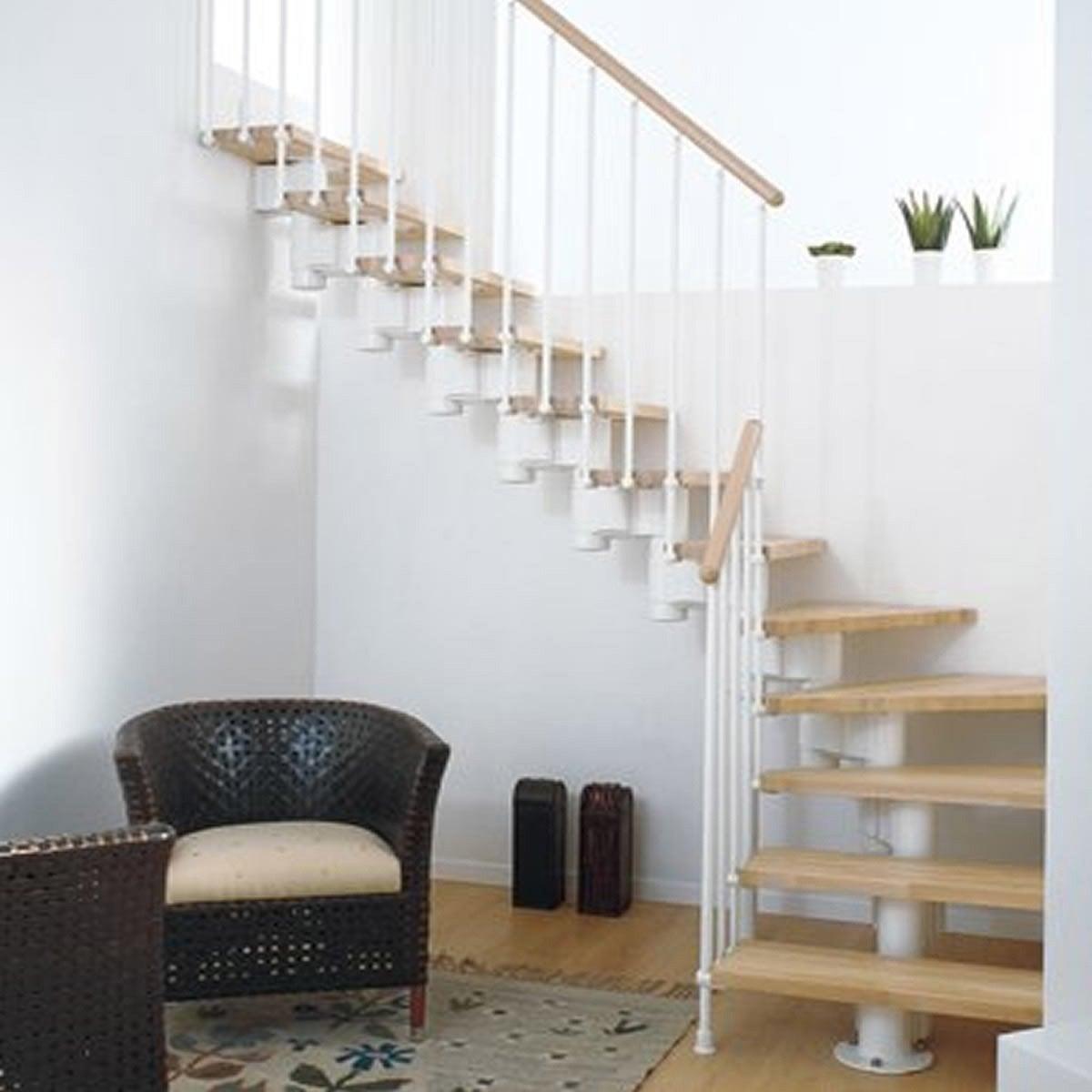escalier modulaire long marches bois structure m tal. Black Bedroom Furniture Sets. Home Design Ideas