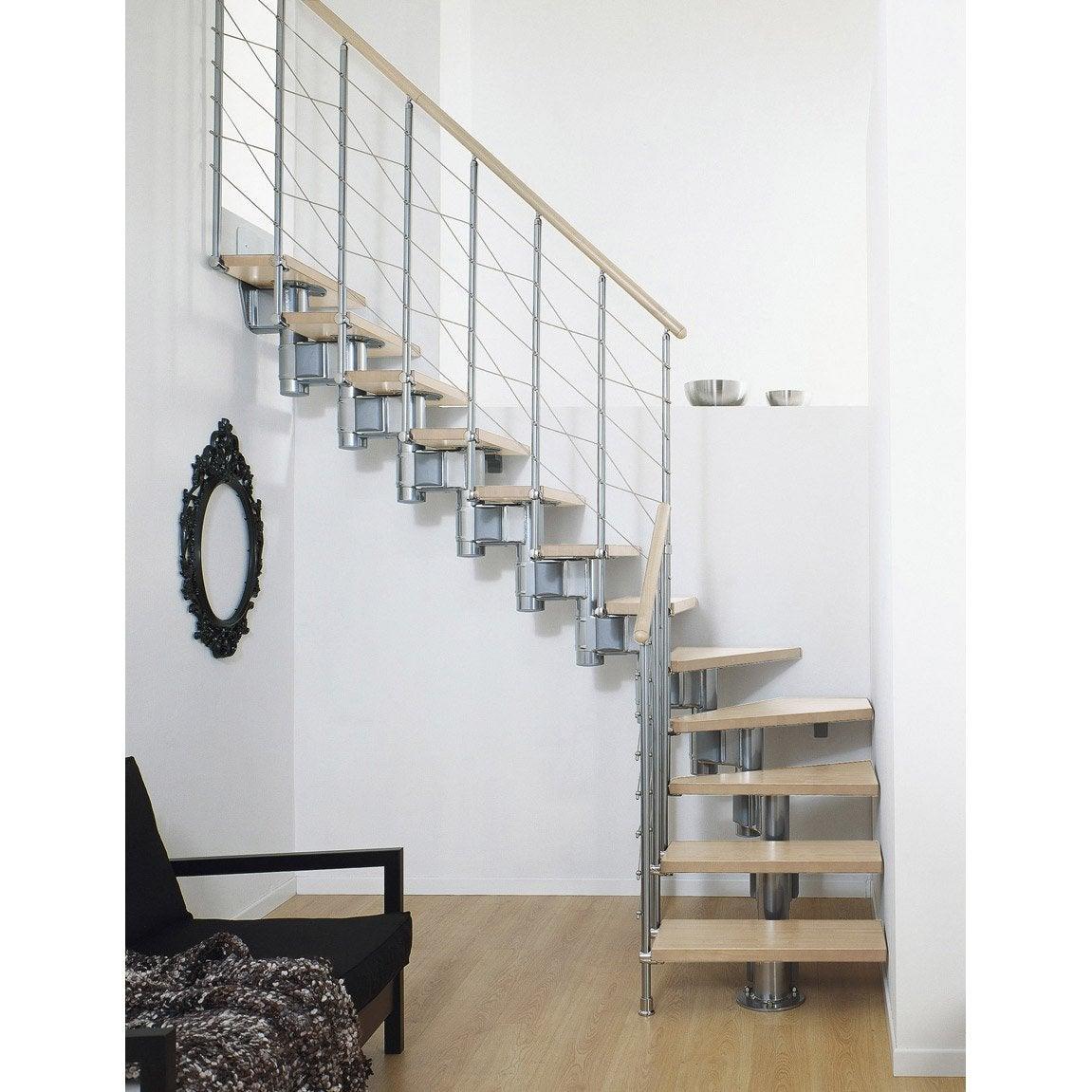 Escalier modulaire long structure m tal marche bois leroy merlin - Marche pied leroy merlin ...